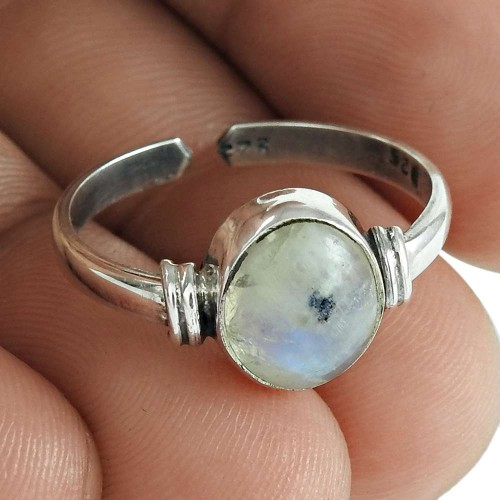 Rainbow Moonstone Gemstone Ring 925 Sterling Silver Wedding Jewelry