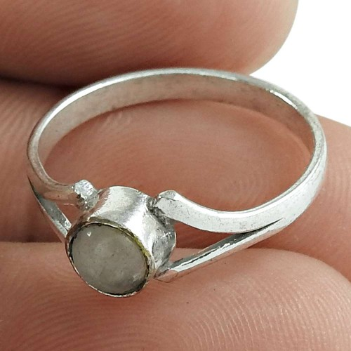 Rainbow Moonstone Gemstone Ring 925 Sterling Silver Traditional Jewelry for Women