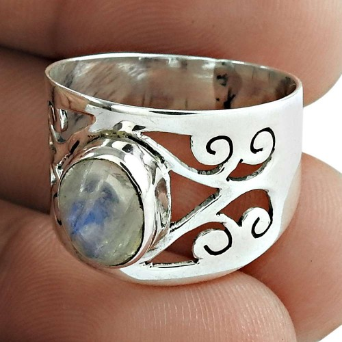 Rainbow Moonstone Gemstone Ring 925 Sterling Silver Women Jewelry
