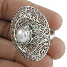 Pearl Gemstone Ring 925 Sterling Silver Ethnic Jewelry
