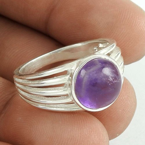 Scenic 925 Sterling Silver Amethyst Gemstone Ring Jewelry