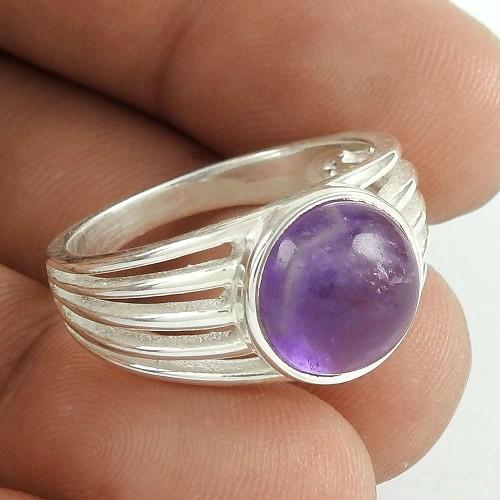 Scenic 925 Sterling Silver Amethyst Gemstone Ring Jewelry