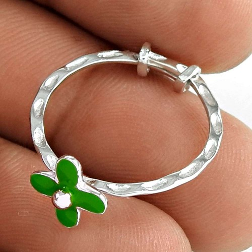 Pleasing 925 Sterling Silver InlayFlower Ring Jewelry