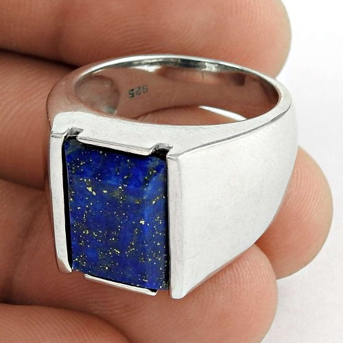Amusable 925 Sterling Silver Lapis Gemstone Men's Ring Jewelry