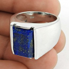 Excellent 925 Sterling Silver Lapis Gemstone Men's Ring Vintage Jewelry