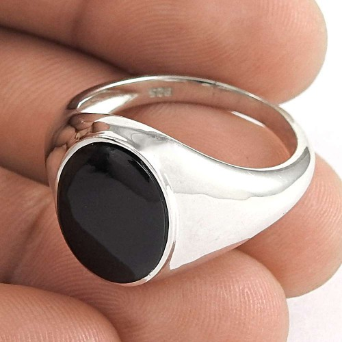 Designer 925 Sterling Silver Black Onyx Gemstone Ring Traditional Jewelry