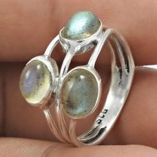 Dainty 925 Sterling Silver Labradorite Gemstone Ring Size 7 Vintage Jewelry D39