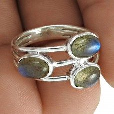 Dainty 925 Sterling Silver Labradorite Gemstone Ring Vintage Jewelry