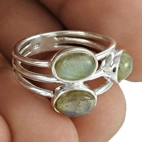 Good-Looking 925 Sterling Silver Labradorite Gemstone Ring Antique Jewelry
