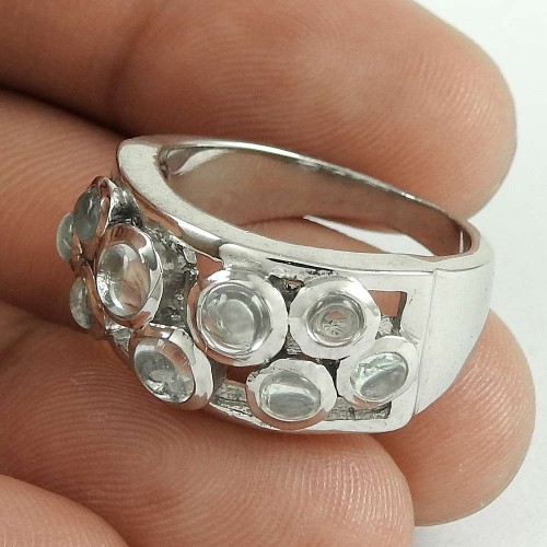 Party Wear 925 Sterling Silver Crystal Gemstone Ring Ethnic Jewelry
