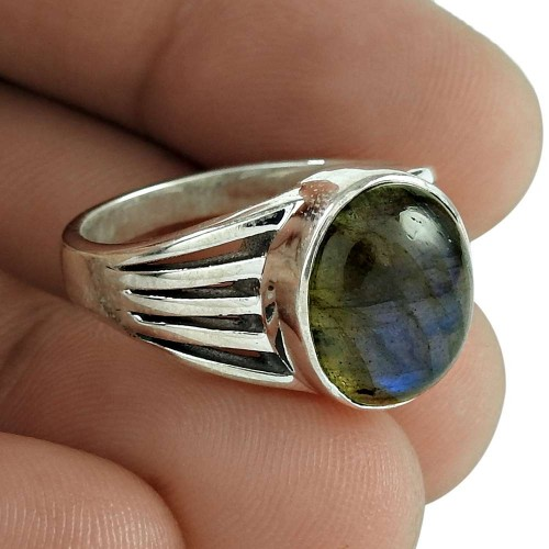 Lovely 925 Sterling Silver Labradorite Gemstone Ring