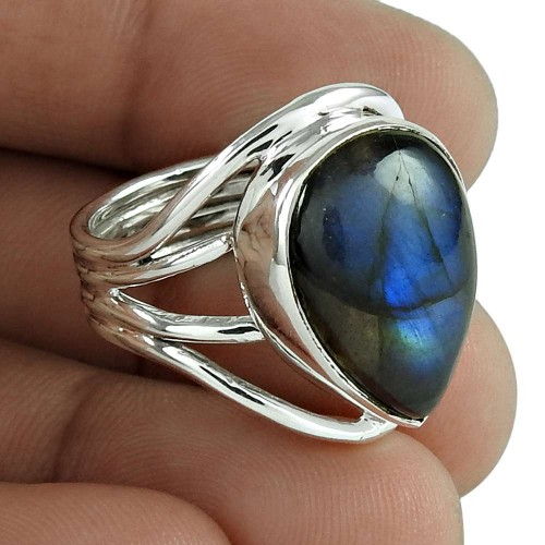 Draditions 925 Sterling Silver Labradorite Gemstone Ring