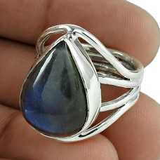 Shapely 925 Sterling Silver Labradorite Gemstone Ring