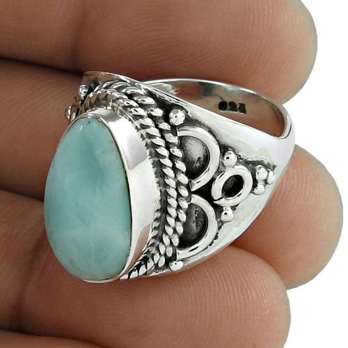 Dream Day 925 Sterling Silver Larimar Gemstone Ring