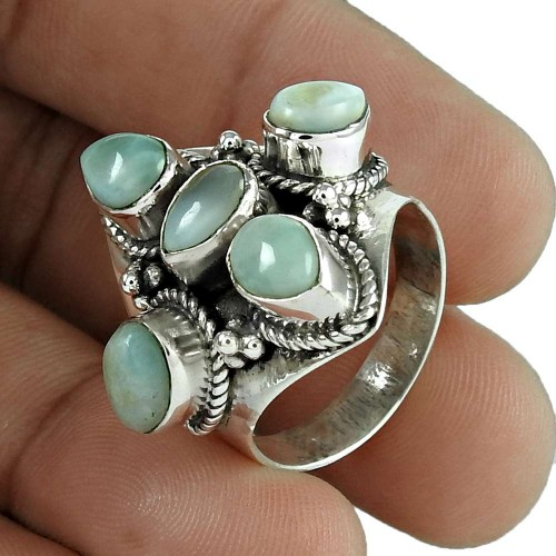 Popular Design 925 Sterling Silver Larimar Gemstone Ring