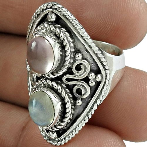 Party Wear 925 Sterling Silver Rainbow Moonstone Rose Quartz Gemstone Ring Ethnic Jewelry