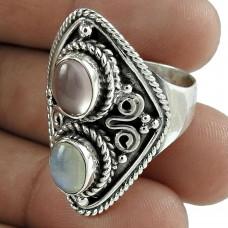 Scenic 925 Sterling Silver Rainbow Moonstone Rose Quartz Gemstone Ring Jewelry