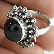 Graceful 925 Sterling Silver Black Star Gemstone Ring Jewelry