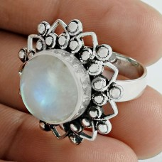 Pleasing 925 Sterling Silver Rainbow Moonstone Gemstone Ring Jewelry