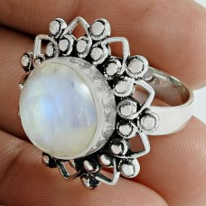 Sightly 925 Sterling Silver Rainbow Moonstone Gemstone Ring Vintage Jewelry