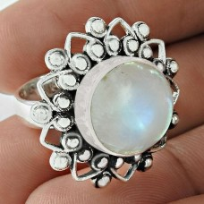 Seemly 925 Sterling Silver Rainbow Moonstone Gemstone Ring Jewelry