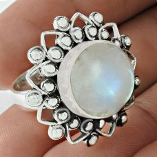 Personable 925 Sterling Silver Rainbow Moonstone Gemstone Ring Jewelry