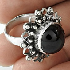 Stunning 925 Sterling Silver Black Star Gemstone Ring Jewelry