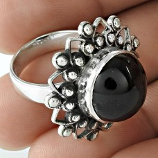Lustrous 925 Sterling Silver Black Star Gemstone Ring Ethnic Jewelry