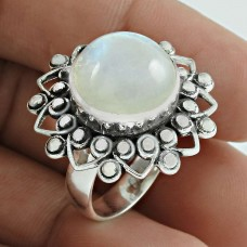 Stylish 925 Sterling Silver Rainbow Moonstone Gemstone Ring Jewelry
