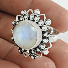 Possessing Good Fortune 925 Sterling Silver Rainbow Moonstone Gemstone Ring Traditional Jewelry Manufacturer India