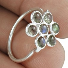 Lustrous 925 Sterling Silver Labradorite Gemstone Ring Ethnic Jewelry Proveedor
