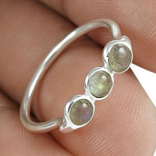 Stylish 925 Sterling Silver Labradorite Gemstone Ring Jewelry Proveedor