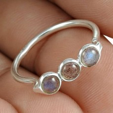 Dainty 925 Sterling Silver Labradorite Gemstone Ring Vintage Jewelry Exporter