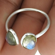 Lustrous 925 Sterling Silver Labradorite Gemstone Open Ring Ethnic Jewelry Wholesale