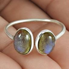 Stylish 925 Sterling Silver Labradorite Gemstone Open Ring Jewelry Al por mayor