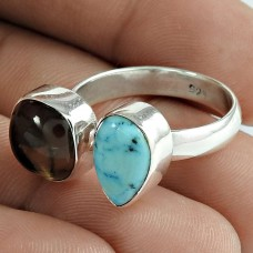Beautiful Larimar Smoky Quartz Gemstone 925 Sterling Silver Open Ring Jewelry
