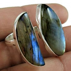 Open Ring Labradorite Gemstone 925 Sterling Silver Wholesale Jewelry