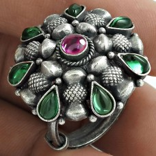 Antique Look Oxidized Sterling Silver Ruby Green Onyx Gemstone Ring Vintage Jewelry