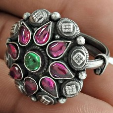 oxidized Sterling 925 Silver Ruby Green Onyx Gemstone Ring Ethnic Jewelry