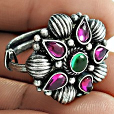 Oxidized Sterling Silver Ruby Green Onyx Gemstone Ring Vintage Look Handmade Jewelry