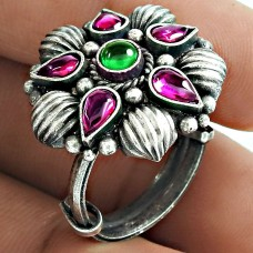 2019 Trend 925 Sterling Silver Ruby Green Onyx Gemstone Ring Vintage Jewelry