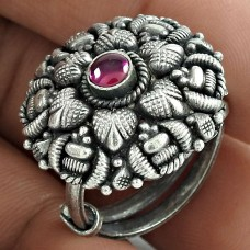 Oxidized Sterling Silver Ruby Gemstone Ring Party Wear Jewelry Wholesaler