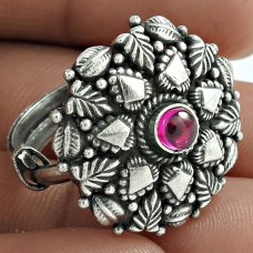 Latest Trend Oxidized Sterling Silver Ruby Gemstone Ring Vintage Jewelry