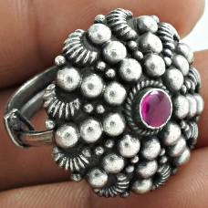 Graceful 925 Sterling Silver Ruby Gemstone Ring Ethnic Jewelry