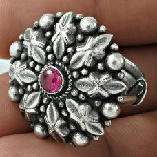 Oxidized 925 Sterling Silver Ruby Gemstone Ring Antique Look Jewelry
