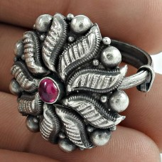 Woman Fashion Ring 925 Sterling Silver Ruby Gemstone Antique Jewelry