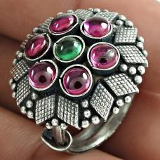 Pretty 925 Sterling Silver Ruby Green Onyx Gemstone Ring Handmade Jewelry