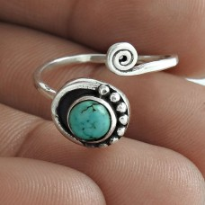 Personable 925 Sterling Silver Turquoise Gemstone Ring Jewellery