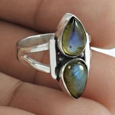 Pleasing 925 Sterling Silver Labradorite Gemstone Ring Jewellery
