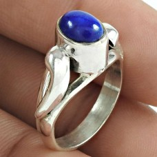 Rare 925 Sterling Silver Lapis Gemstone Ring Ethnic Jewelry